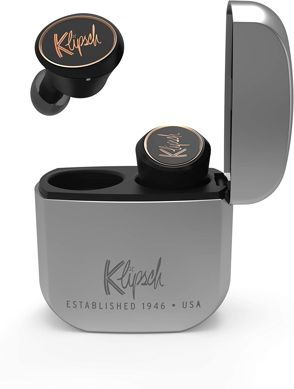Klipsch T5 True Wireless Earphones - True Wireless Earbuds with Bluetooth 5 Wireless connectivity, Patented, Ultra-Comfortable Ear Tips