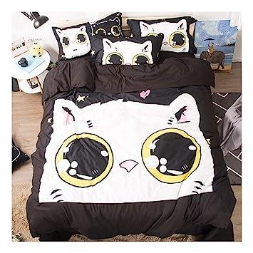 CSYPYLE Juego De Cama Lindo Patrón De Gato De Ojos Grandes De Dibujos Animados Cómodo Dormitorio