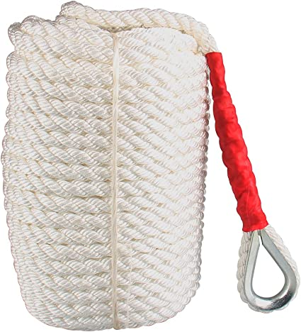 "3//4/"" X150/' White Twisted Three Braided Nylon Anchor Rope Dockline W//Thimble Boat"