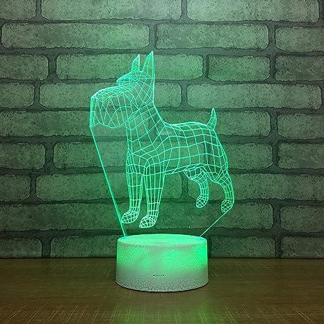 Cane Lampada da notte 3D Lampada da tavolo a LED USB 7 colori Luci illusione 3D per soggiorno Lampada decorativa Decorazioni per la casa Decorazioni per la casa Regalo di festa