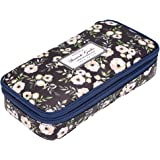 BTSKY Floral Pencil Case with Compartments -High Capacity Double Layers Pencil Pouch Stationery Organizer Multifunction Cosmetic Makeup Bag, Perfect Holder for Pencils and Pens(White Flower)
