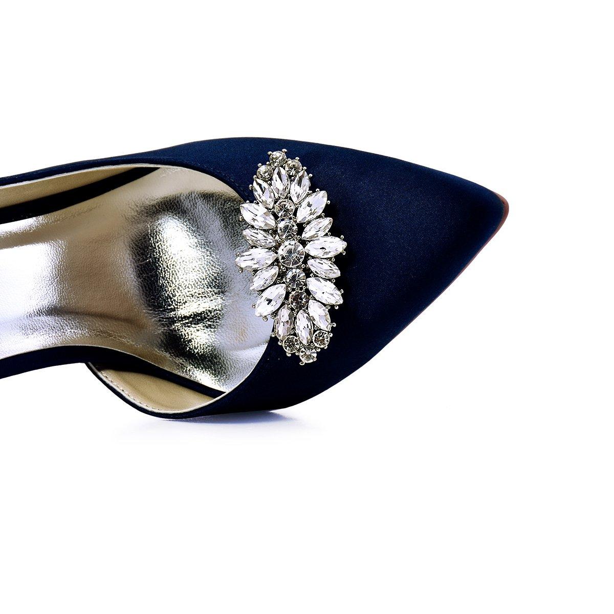 ElegantPark AW Women's Leaf Design Rhinestones Crystal Clutch Dress Hat Shoe Clips Silver 2 Pcs by ElegantPark (Image #6)