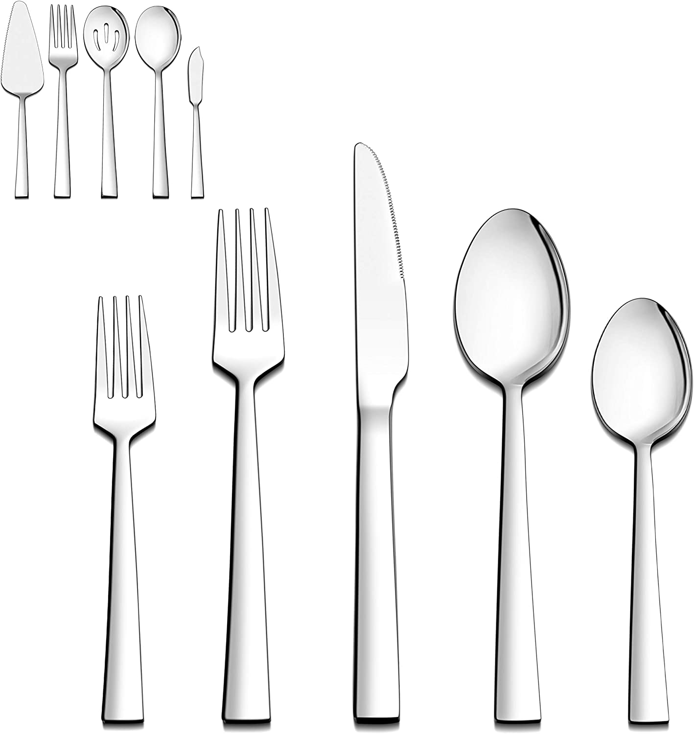 Dishwasher Safe Mirror Finished 5 Pieces Stainless Steel Hostess Silverware Flatware Cutlery Serving Set LIANYU Serving Utensils