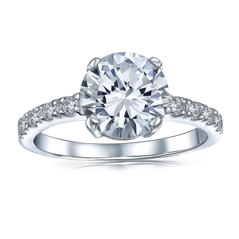 4CT Solitaire CZ anello di fidanzamento Band 14K placcato oro argento Sterling