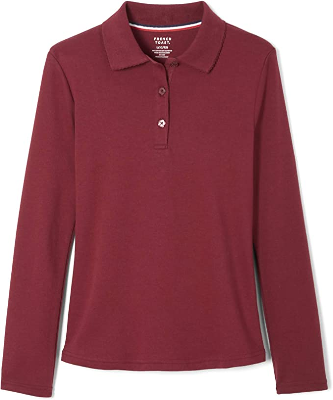School Uniform Polo Shirt Standard /& Plus French Toast Girls Uniform Long Sleeve Polo with Picot Collar