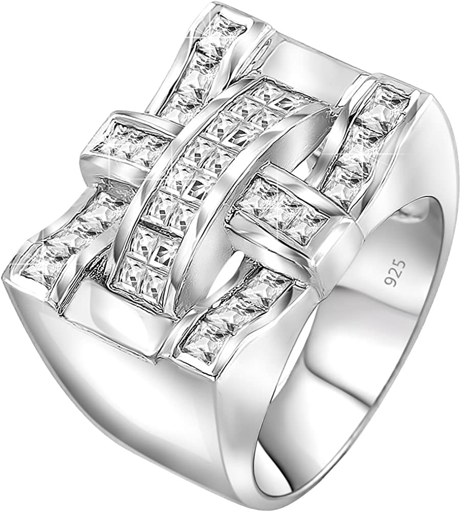 Mens Sterling Silver .925 Ring Designer CZ Square Featuring a Princess-Cut Invisible Look Center Stone Surrounded 16 Round Stones 6