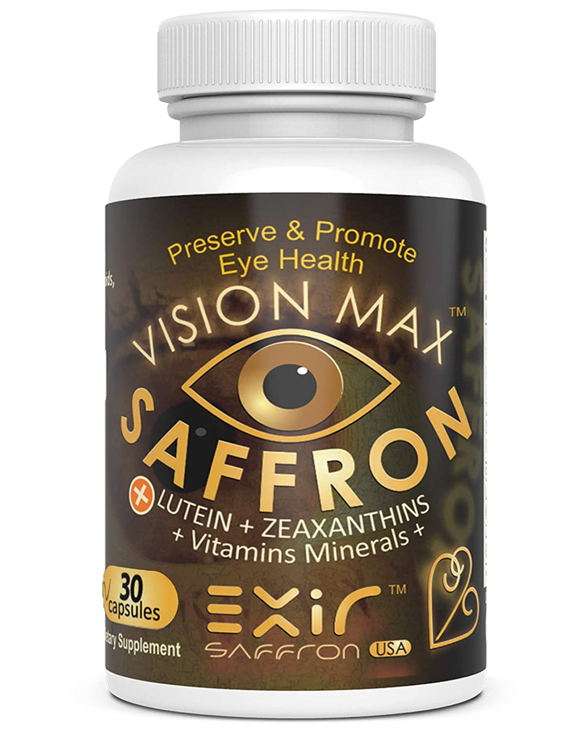 Eye Vision Vitamins - Best Eye Support Supplement for Computer Users with Lutein, Saffron, Zeaxanthin, Meso-Zeaxanthin, Grape Seed Extract + Vitamins Minerals - Vision Max®, 30 Capsules