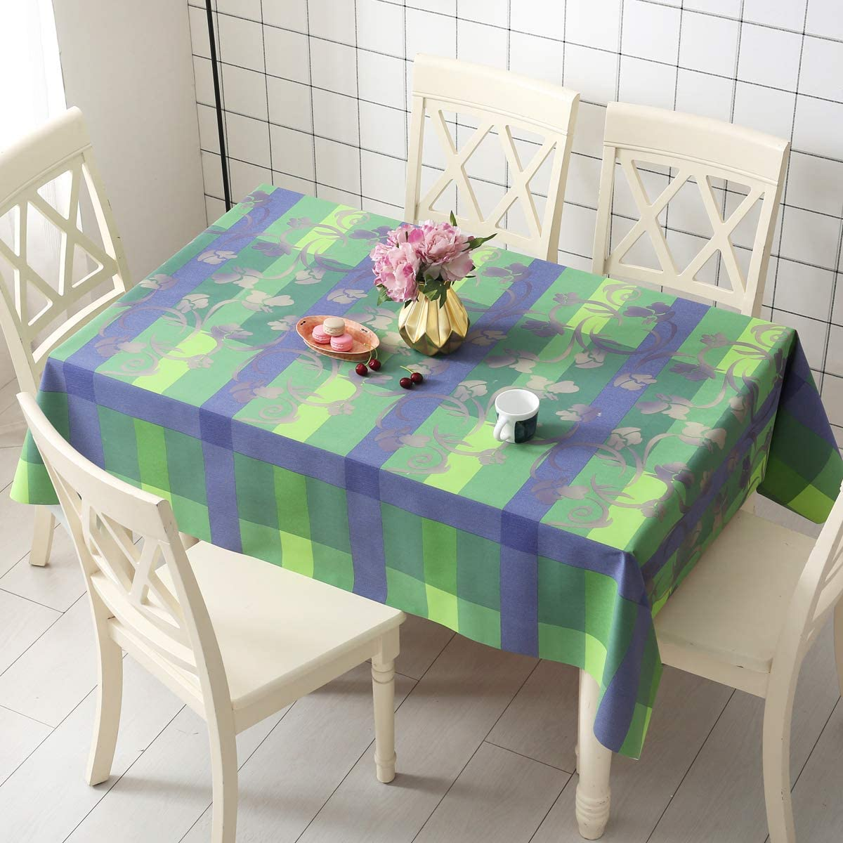 DUOFIRE Vinyl Tablecloth Rectangle Wipe Clean Table Cover Waterproof Stain Resistant Oil Proof Spill Proof Heavy Weight PVC Tablecloths 137x137cm 54 x 54 inch Color-no.015