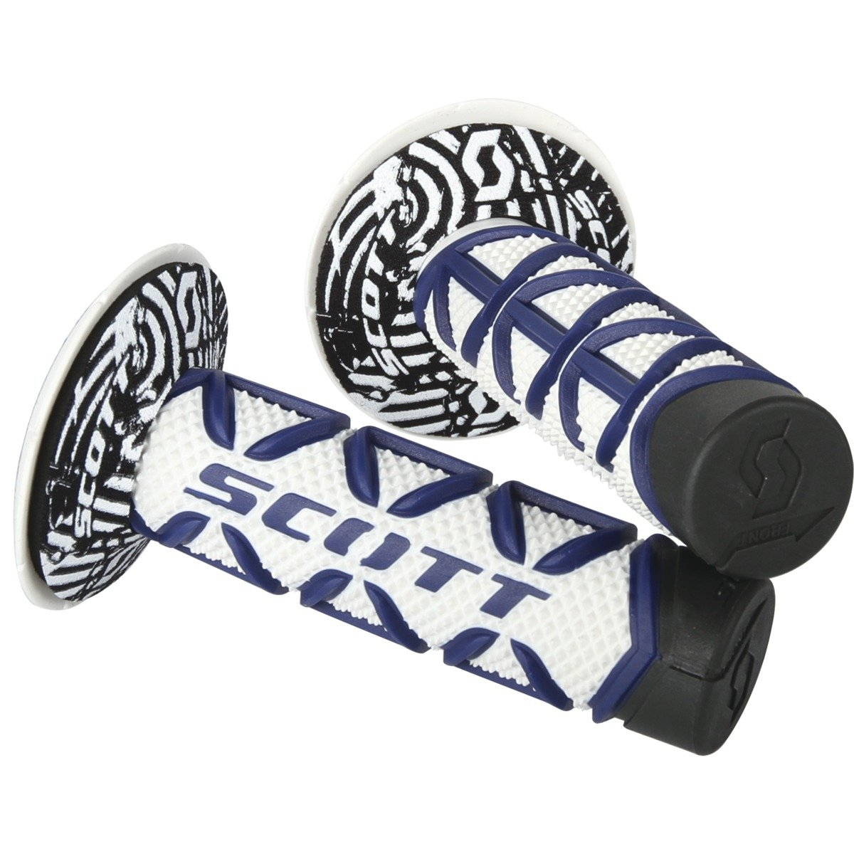 Scott Diamond MX Motorcycle Grips with Bar End Blue / White