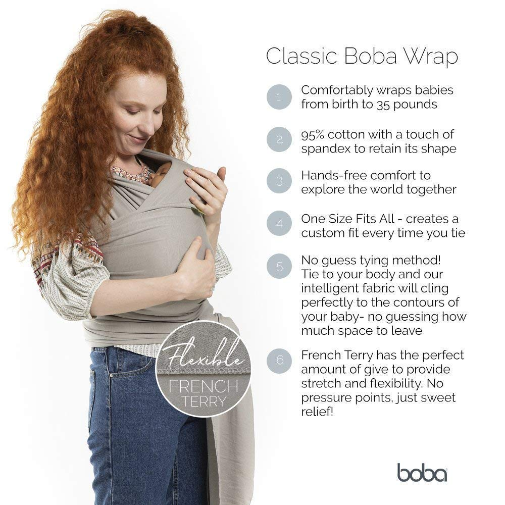 Perfect for Infants and Babies Up to 35 lbs Boba Baby Wrap Plum Ikat The Original Child and Newborn Wrap