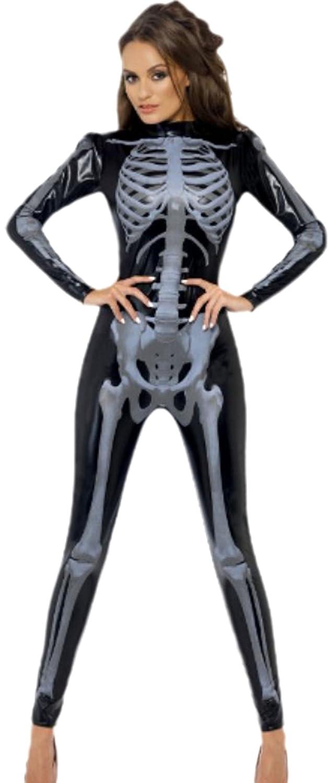 Erdbeerloft - Damen Skelett Catsuit, Jumpsuit, Karneval, Halloween, M, Schwarz