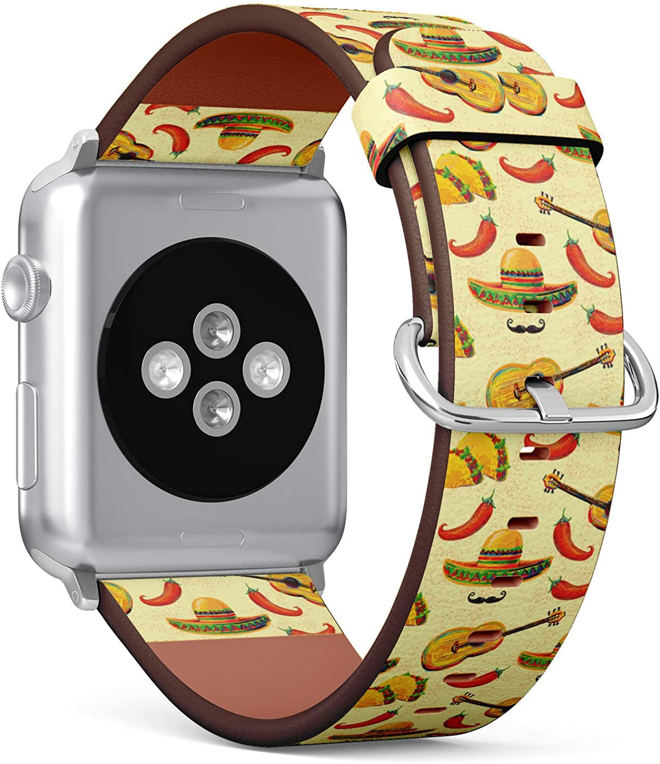 (Mexican Music Pattern with Sombrero hat, Mustache, Guitar, Taco and chill) Patterned Leather Wristband Strap Compatible with Apple Watch Series 4/3/2/1 gen,Replacement of iWatch 42mm / 44mm Bands