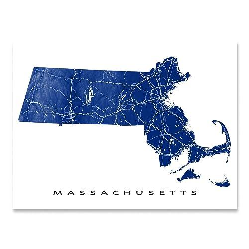 Amazon.com: Massachusetts Map Art Print, MA State Outline, USA ...
