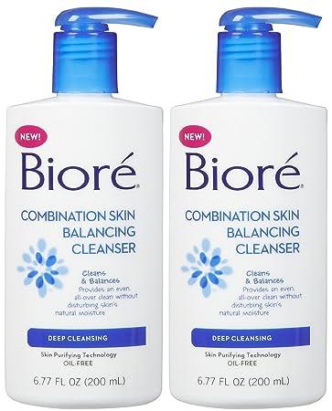 Biore Combination Skin Balancing Cleanser Deep Cleansing 6.77 oz (Pack of 2) Sun Bum SPF 30 Pink Grapefruit Lip Balm .15oz