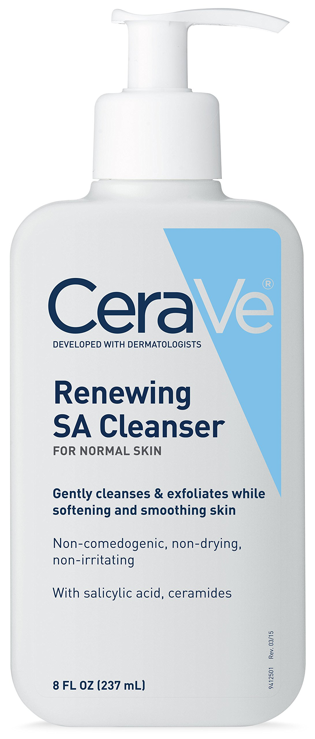 CeraVe Salicylic Acid Cleanser | 8 Ounce | Renewing Exfoliating Face Wash with Vitamin D for Rough and Bumpy Skin | Fragrance Free by CeraVe