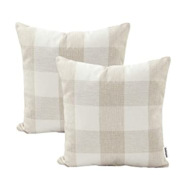 Debispax Classic Retro Beige Checkers Plaids Cotton Linen Decorative Throw Pillow Covers Cushion Case Home Sofa Bedroom Car 18 × 18 Inch Set of 2