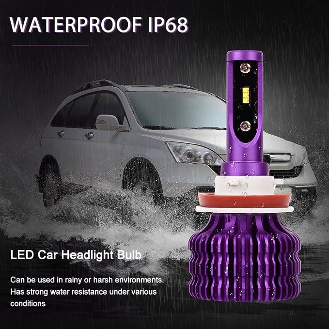 9005 Car Headlight Bulb Purple EMC Anti-jamming Headlamp Conversion Kits Replace for HID or Halogen Bulbs with Canbus Waterproof IP68 MALUOKASA ZES Chips 6500K 10000LM LED Headlight Bulb