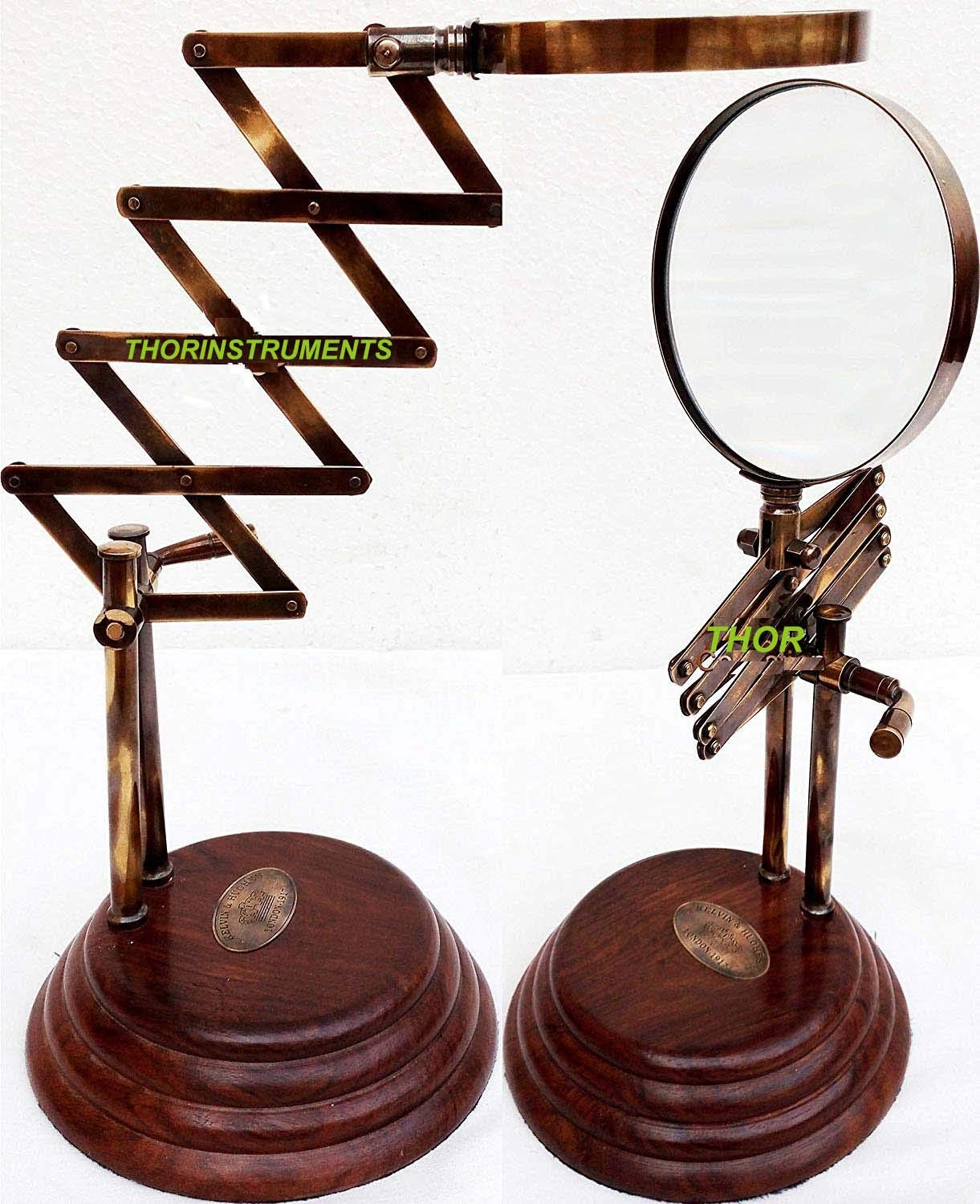 Vintage Style Desk Top Channer Magnifier Nautical Brass Magnifying Glass on Wooden Stand