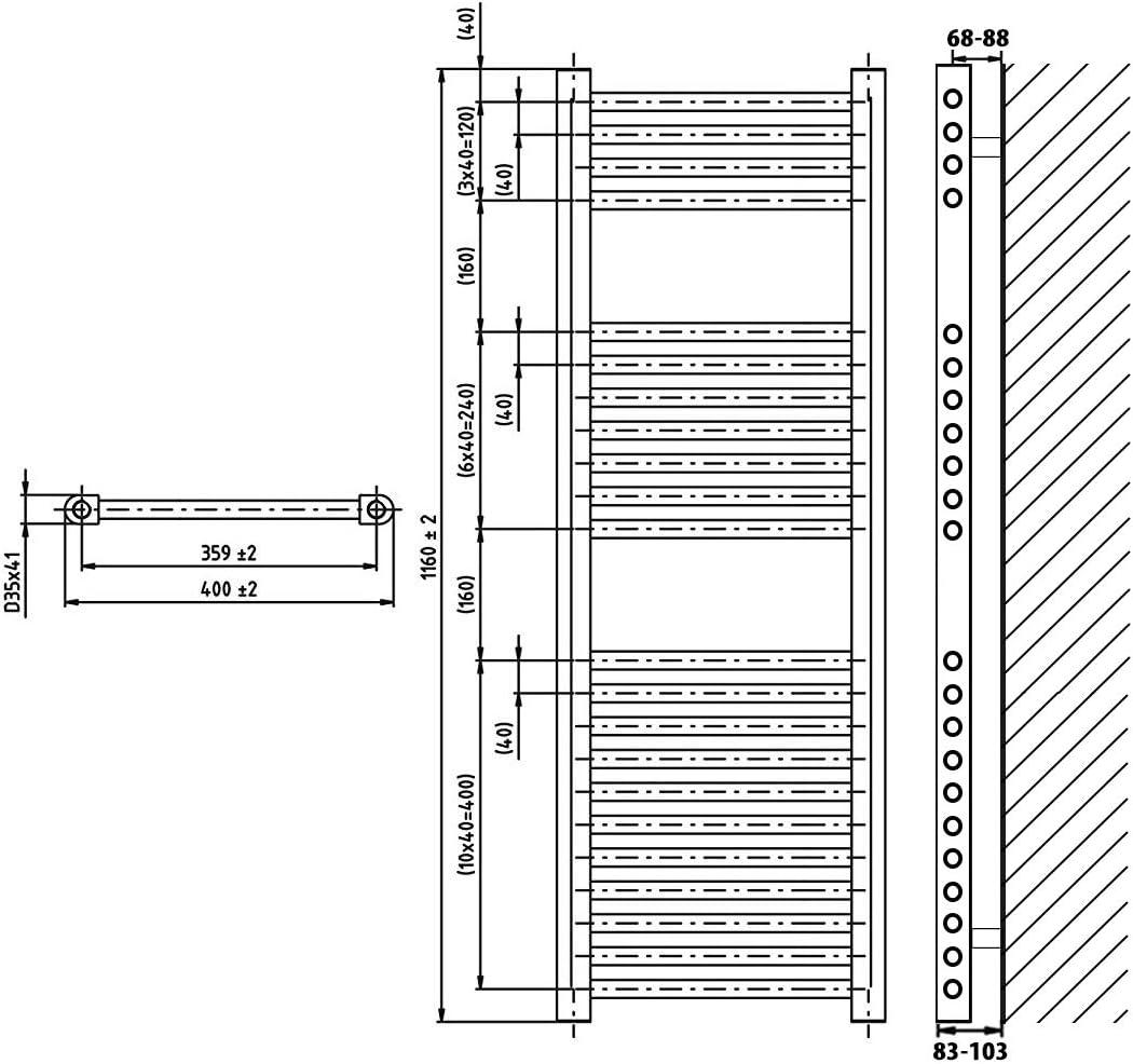 348 Watt nach EN442 Heizk/örper Badheizk/örper gerade 764 x 500 wei/ß
