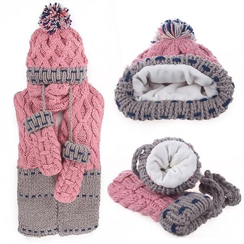 Paquete De 3 Piezas De Invierno Para Adultos - Sombrero Bufanda Y Conjunto De Manoplas,Pink-OneSize