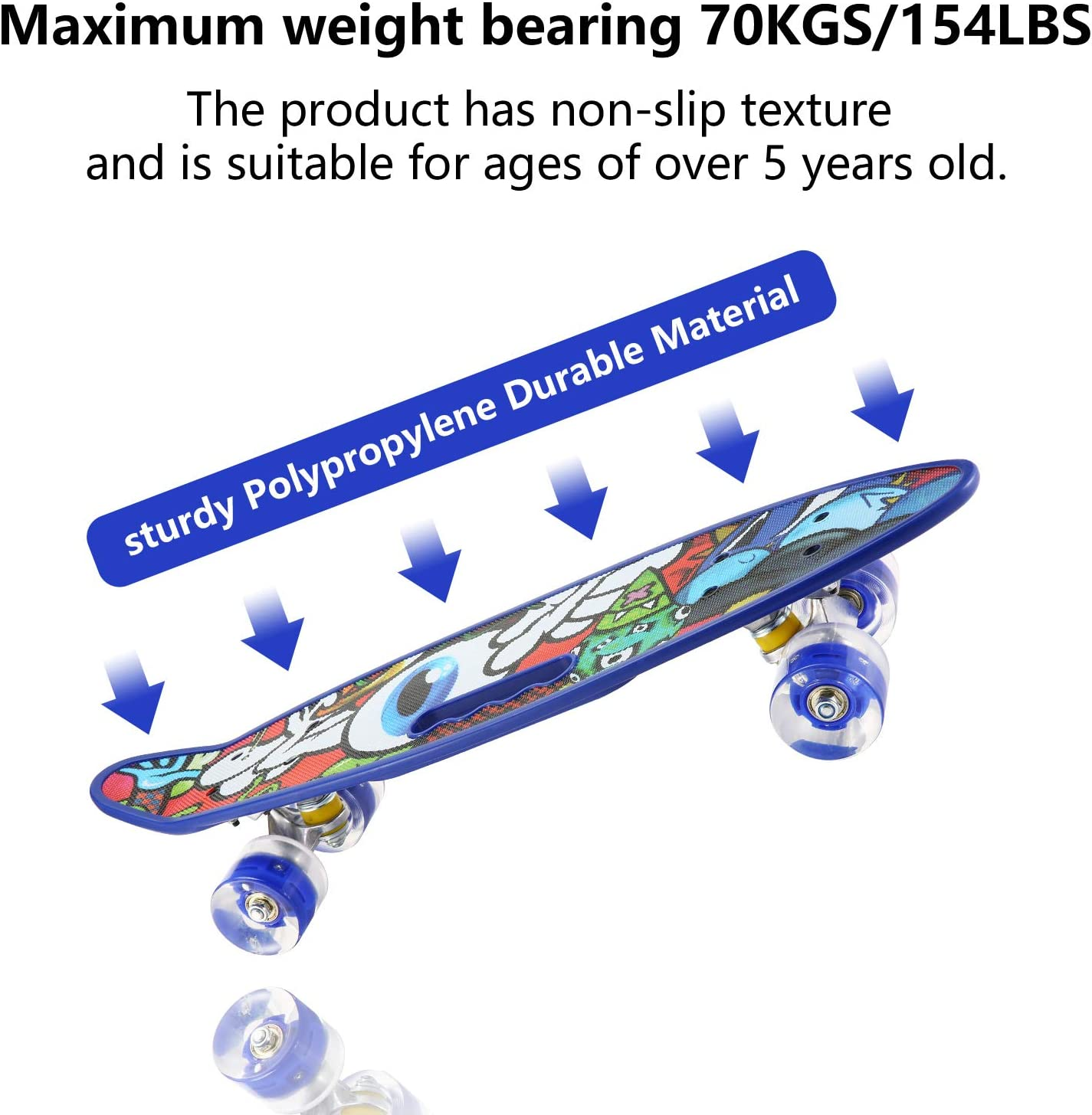 Sansirp Skateboard Merkapa 31 Complete Skateboards Standard With Colorful Led Wheels 7 Layers Maple Wood Deck For Kids Boys Girls Adults Beginners Skateboards Standard Skateboards