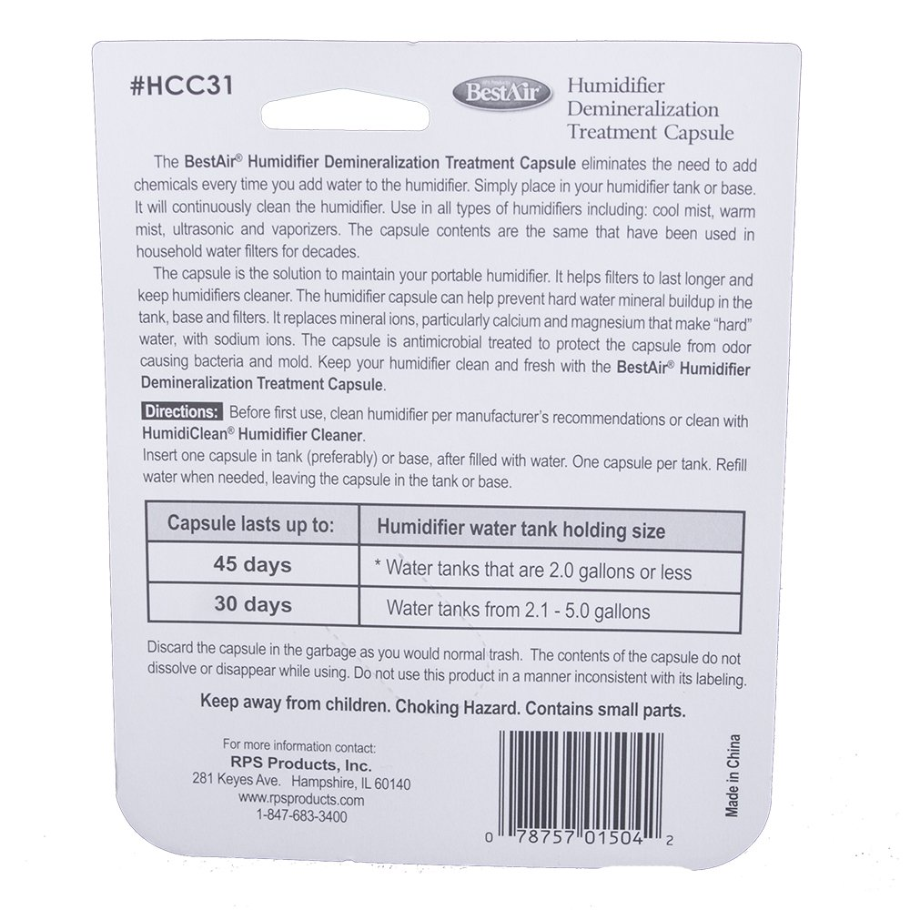 BestAir HCC31, Humidifier Demineralization Treatment Capsule, 1 Pink & Green by BestAir (Image #2)
