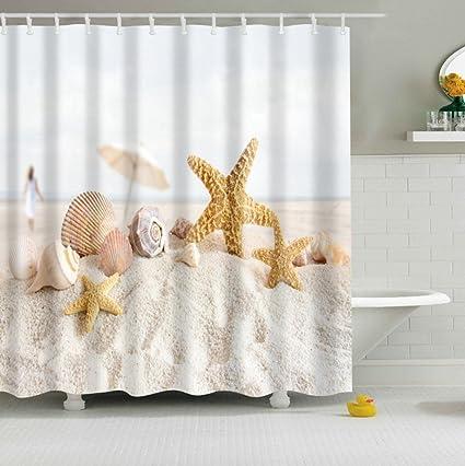 DeKeLaiFu 72 X Inch Starfish Conch Shell Beach Shower Curtain