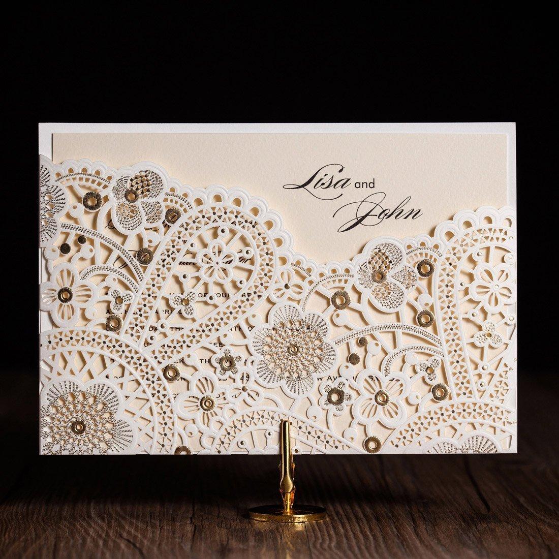 VStoy Laser Cut-Inviti matrimonio, motivo floreale elegante Champagne Gold Biglietti di invito per feste con buste, carta per imballo e 20 guarnizioni