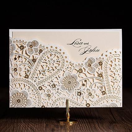 vstoy laser cut invitaciones de boda elegante flores dorado