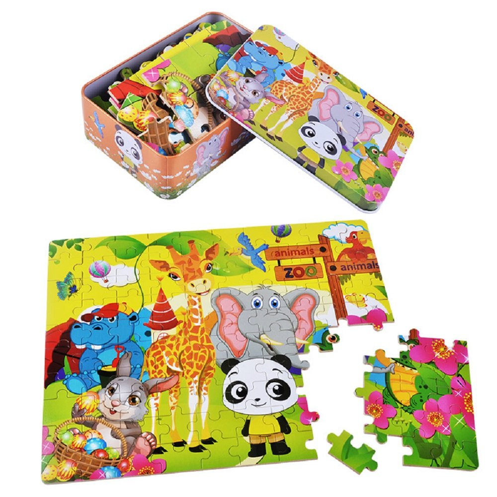100 Pieces Kids Wooden Jigsaw Puzzle for toddlers 3-6 Ages, Kids Educational Puzzles Toys to Develop Dexterity and Problem Solving, with a Storage Box(Zoo Animals)