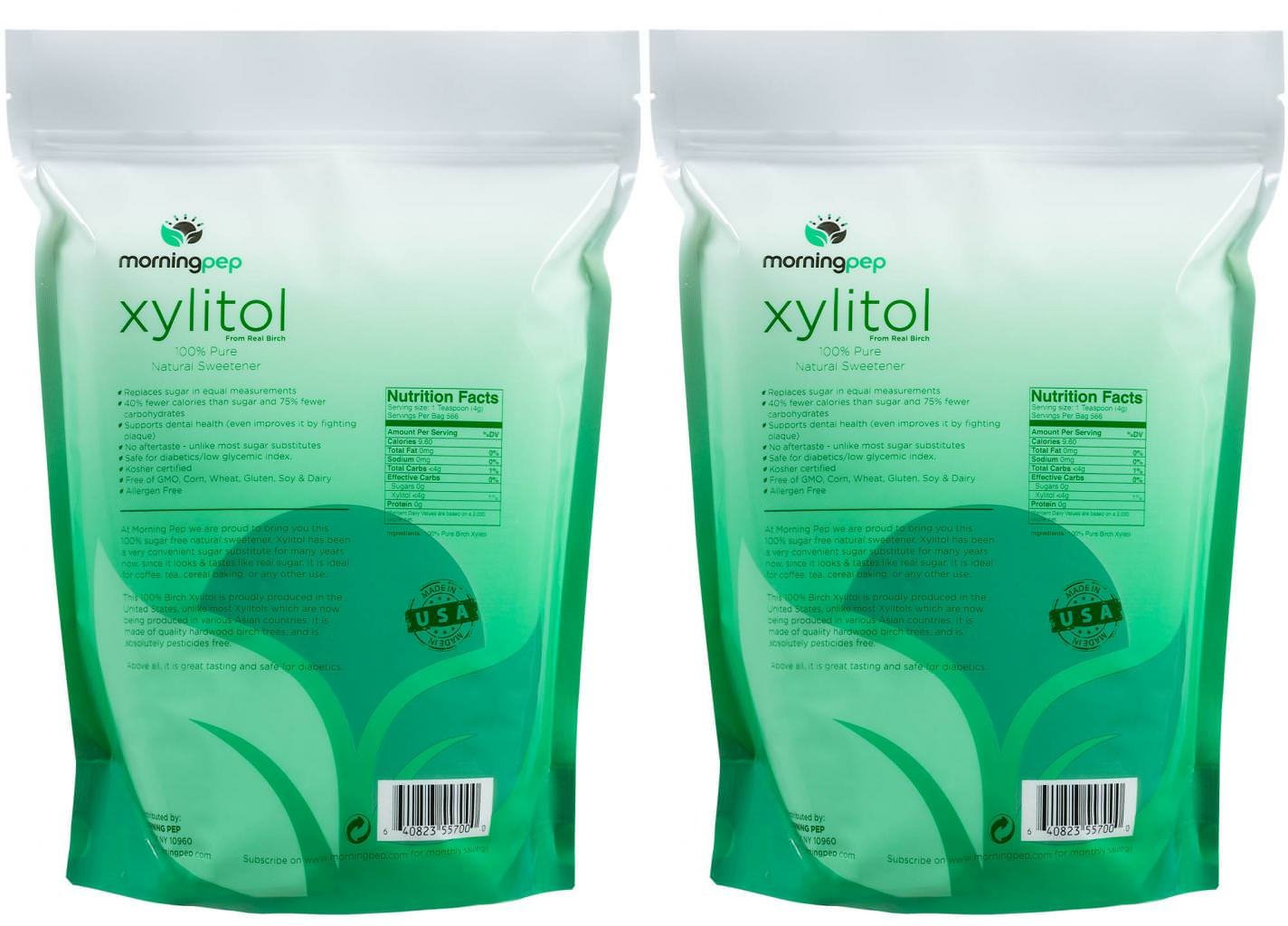 Pack of 2 Morning Pep Pure Birch Xylitol (Keto Diet Friendly) Sweetener Bulk Size 10 LB by (Not from Corn) Non GMO - Kosher - Gluten Free - Product of USA. Total 20 Lbs (320 OZ) by Morning Pep (Image #2)
