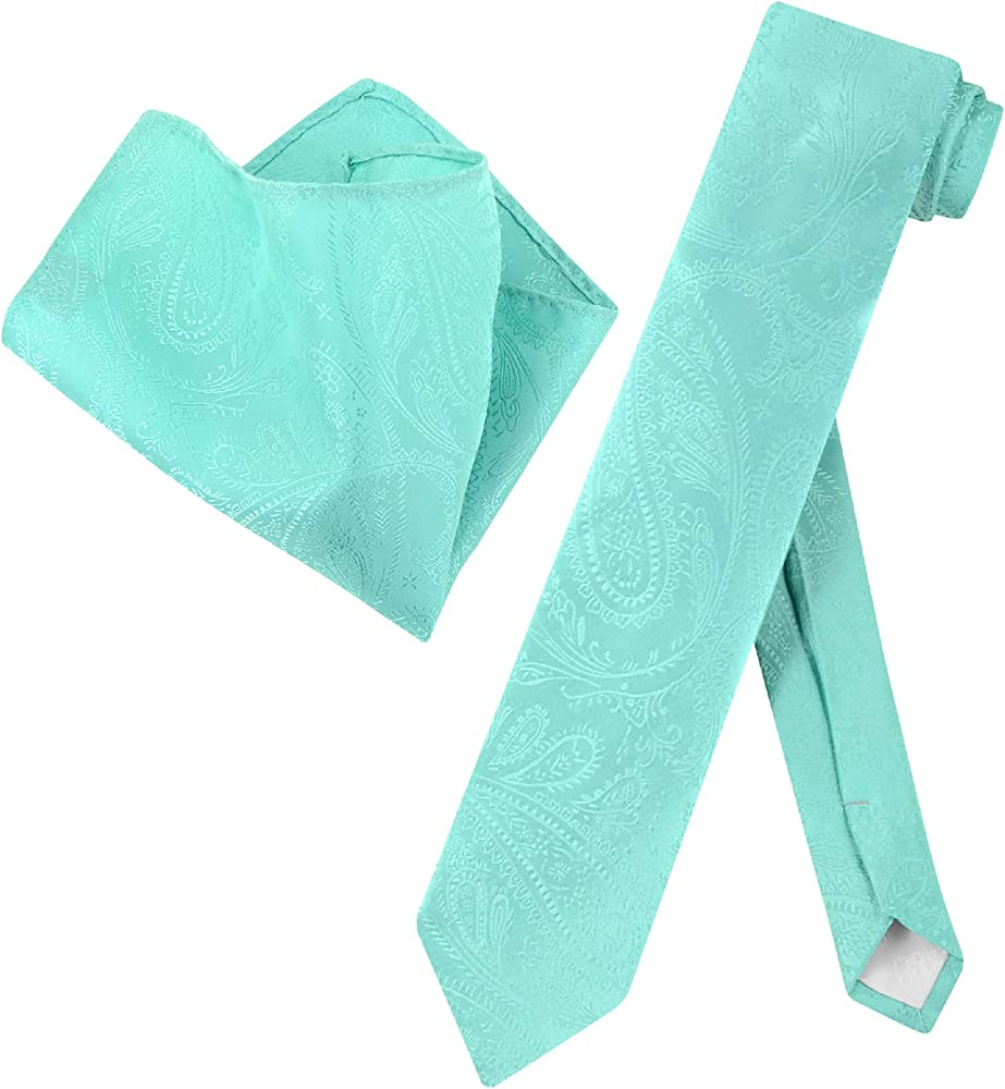 New Men/'s Polyester Woven Neck Tie necktie /& hankie set paisley Aqua green prom