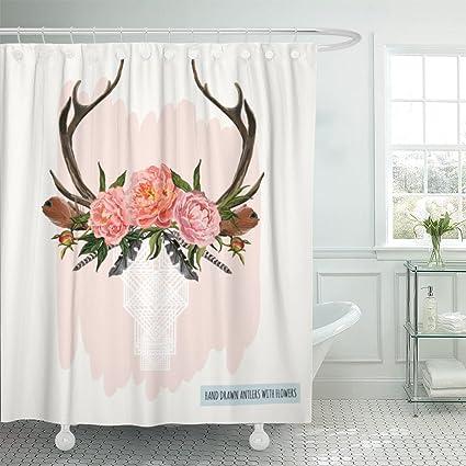 Amazon Emvency Shower Curtain Beautiful Of Deer Skull Flowers