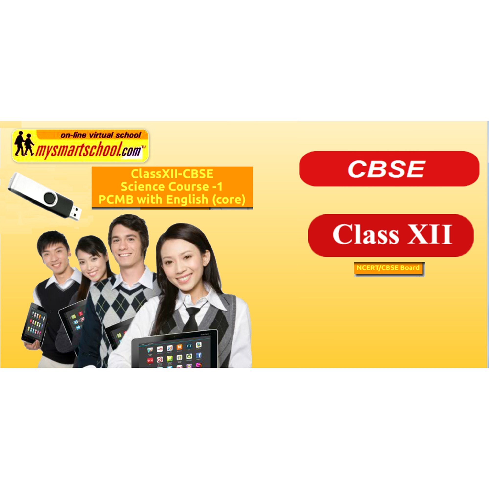 Class XII CBSE Science USB Pendrive Course (Physics Chemistry Maths Biology) with English (core) All Lessons are Interactive Multimedia with multiple Questions on the Basis of CBSE Evaluation by mysmartschool