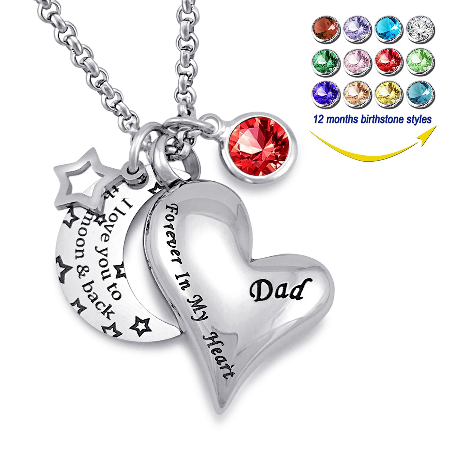 YOUFENG Urn Necklaces for Ashes I Love You to the Moon and Back for Dad Cremation Urn Locket Birthstone Jewelry (July urn necklace)