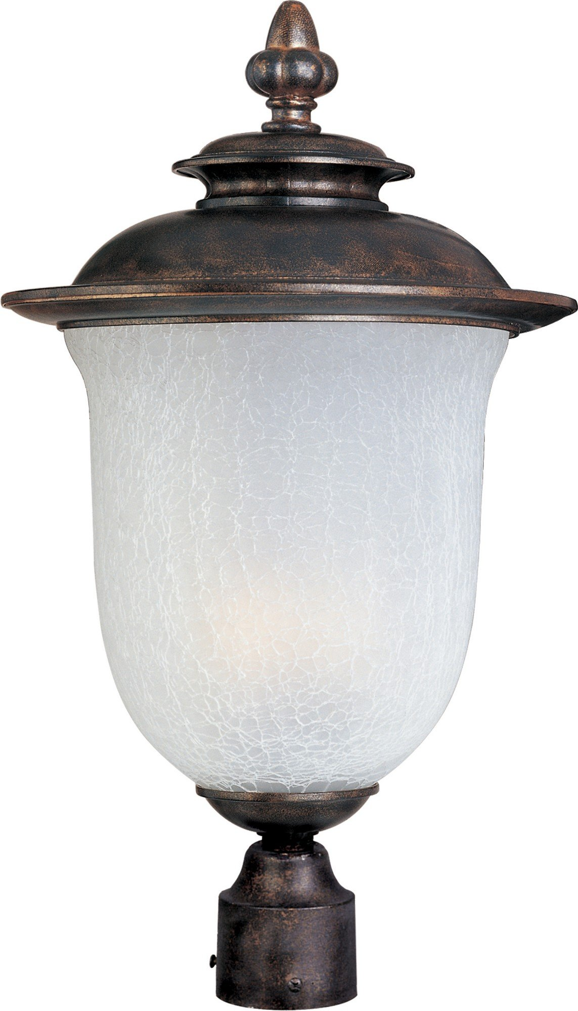 Maxim 3091FCCH Cambria Cast 3-Light Outdoor Pole/Post Lantern, Chocolate Finish, Frost Crackle Glass, CA Incandescent Incandescent Bulb , 40W Max., Dry Safety Rating, Standard Dimmable, Fabric Shade Material, Rated Lumens