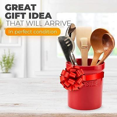 Buy Prioritychef Kitchen Utensil Holder For Countertop Heavy Ceramic Utensils Caddy Large Spatula Organizer Utensil Crock Red Online In Kenya B08p7fk4n1