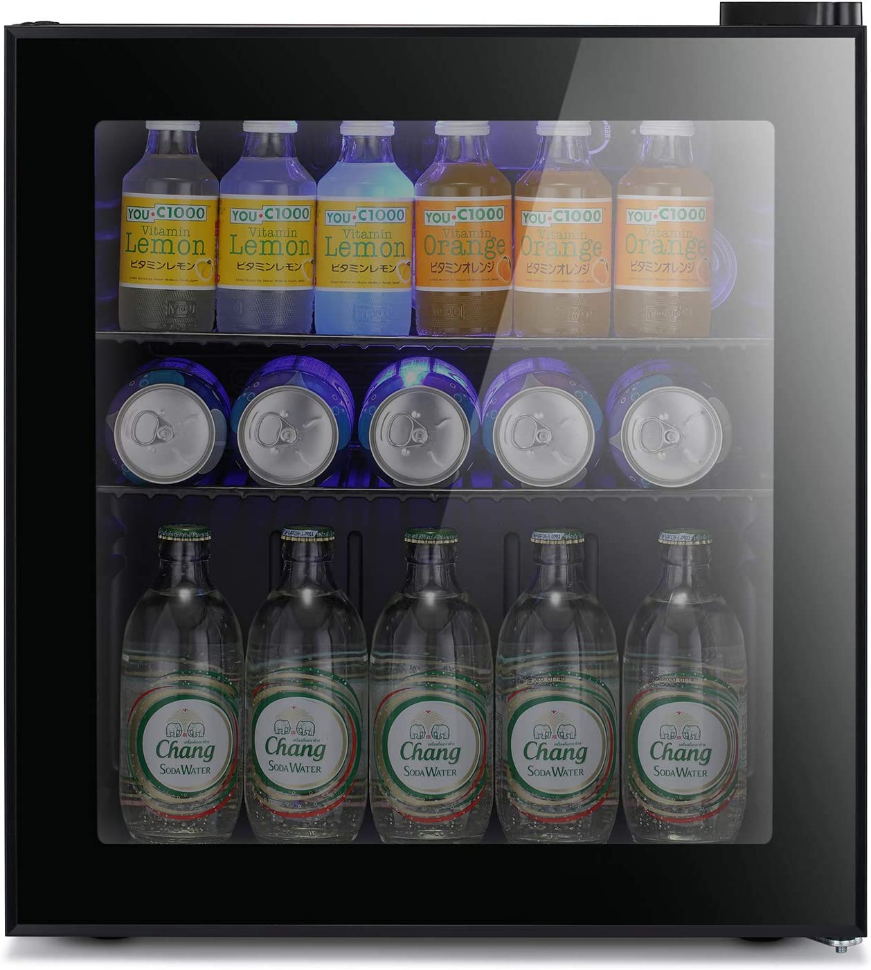 Antarctic Star Mini Fridge Cooler - 60 Can Beverage Refrigerator Glass Door for Beer Soda or Wine – Glass Door Small Drink Dispenser Machine Black Glass Removable for Home, Office or Bar, 1.6cu.ft.
