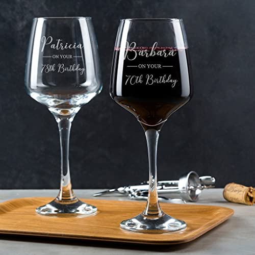 Personalised 70th Birthday Wine Glass Gifts For Women Her 75th Men Lovers