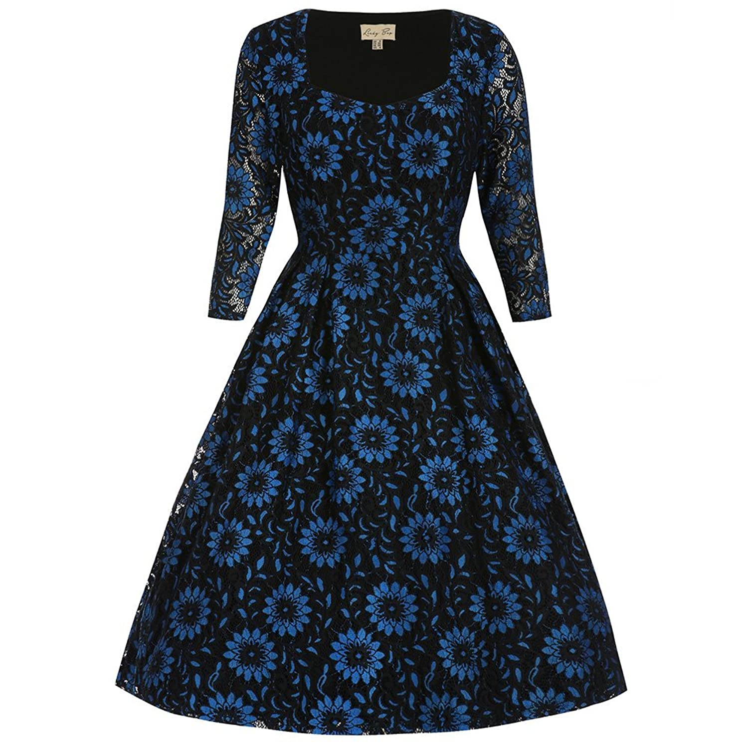 Lindy Bop Women's Lisette Blue Black Dress