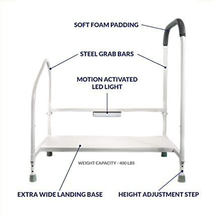 Outstanding Step2Bed Bed Rails For Elderly With Adjustable Height Bed Step Stool Led Light For Fall Prevention Portable Medical Step Stool Comes With Handicap Cjindustries Chair Design For Home Cjindustriesco