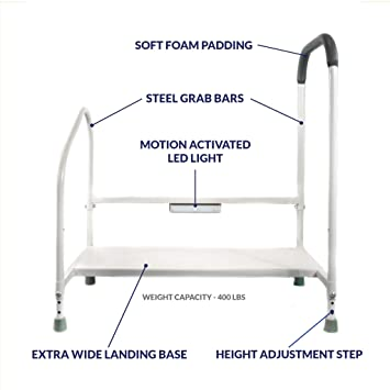 Terrific Step2Bed Bed Rails For Elderly With Adjustable Height Bed Step Stool Led Light For Fall Prevention Portable Medical Step Stool Comes With Handicap Andrewgaddart Wooden Chair Designs For Living Room Andrewgaddartcom