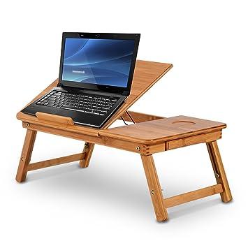 HOMCOM Bambú portátil Ordenador portátil Escritorio portátil Bandeja PC Cama Mesa con cajón Ajustable y Plegable (55L X 35 W x 22 - 30H (cm)): Amazon.es: ...