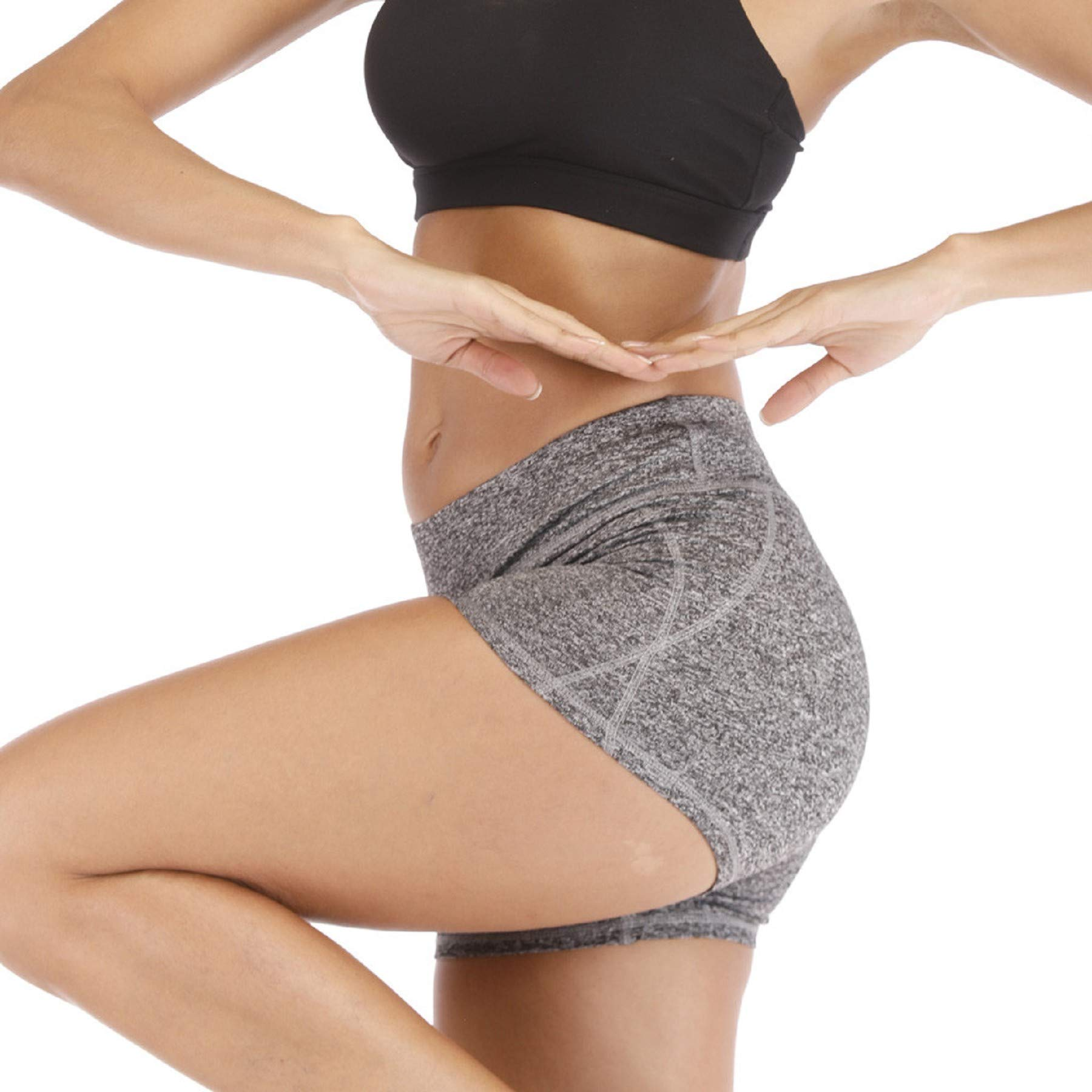 Women's Butt Lift Stretch High Waist Short Yoga Leggings Gym Tummy Control Workout Pants Activewear Skinny Tights Gray