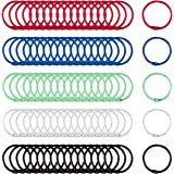 100 Pcs Colorful Book Loose Leaf Binder Rings- 30mm Metal Loose Paper Notebook Rings Keychain Rings for Cards, Document Stack and Swatches