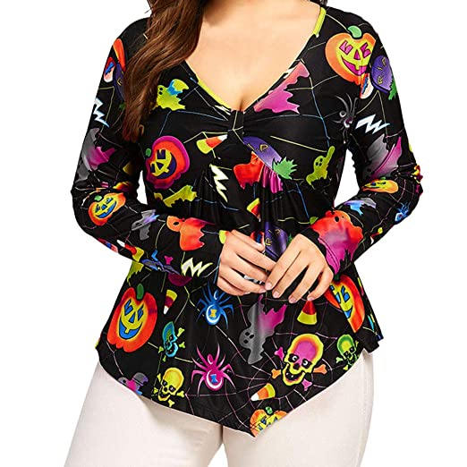 403c0c9e98f Plus Size Halloween Tops, MEEYA Women V Neck Shirts Printed Pumpkin  Irregular Blouse at Amazon Women's Clothing store:
