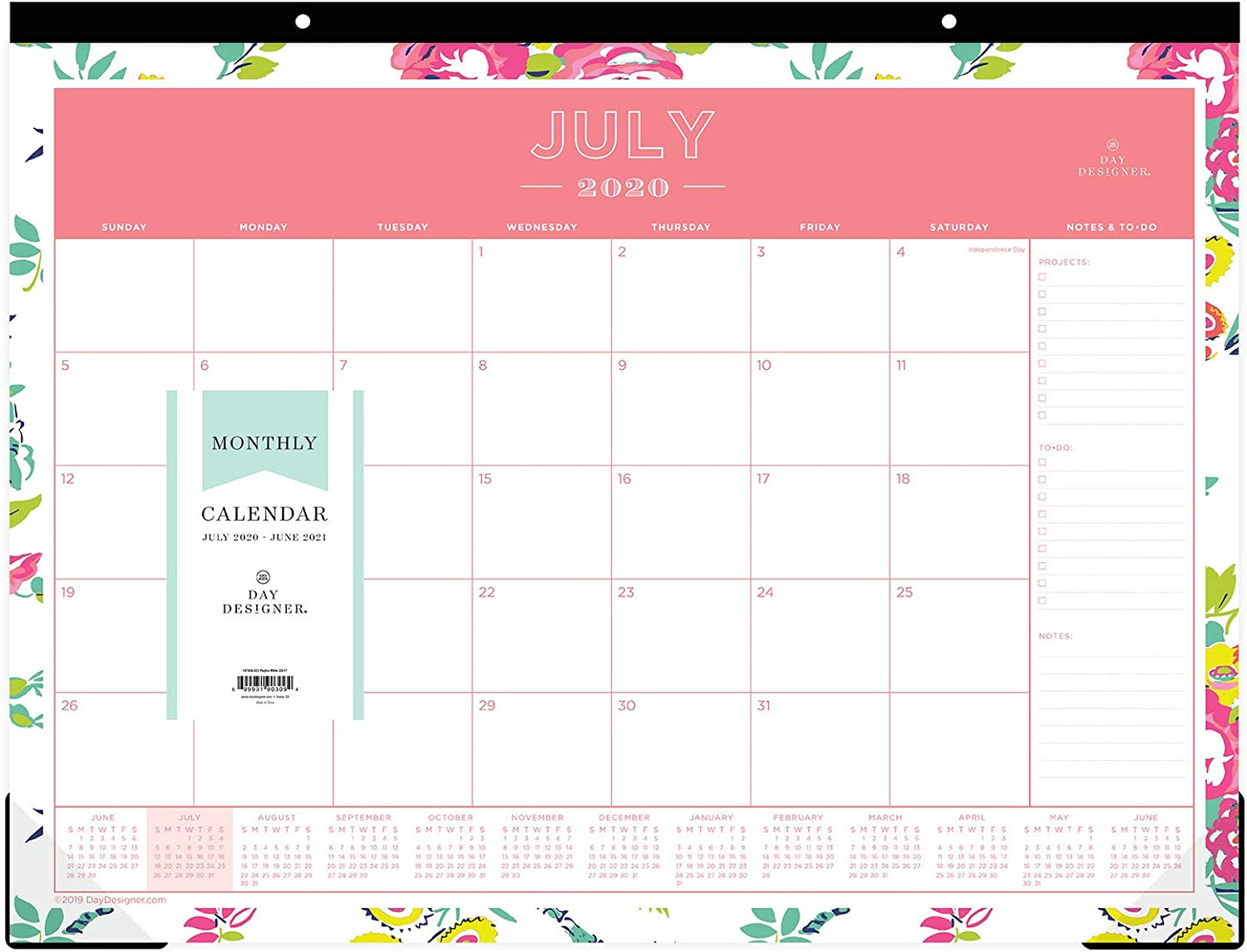 """Day Designer for Blue Sky 2020-2021 Academic Year Monthly Desk Pad Calendar, Trim Tape Binding, Two-Hole Punched, 22"""" x 17"""", Peyton White"""