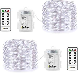 Homestarry Fairy String Lights Battery Operated Waterproof 8 Modes, Firefly Remote, Bedroom, Patio, Decor Christmas, 16.4 ft 66 LED's, Cool White (2 Sets)