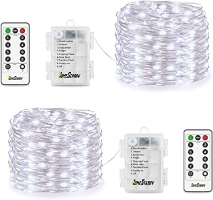 Details about  /Battery Powered LED Copper Wire String Fairy Light 8 Mode 17 Key Remote Control