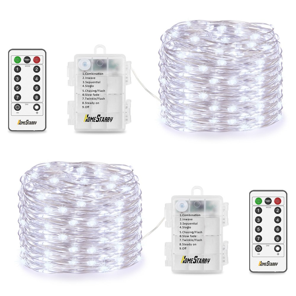 2 Pack String Lights, Battery Operated 66 LED 16.4FT Silver Wire 8 Modes Twinkling Fairy lights with Remote Waterproof for Indoor Bedroom Wedding Festival Decor Patio Christmas Lights (Cool White)